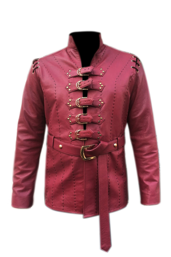 Hand Made Hand Stitched Maroon Real Leather Jacket For Mens (1)