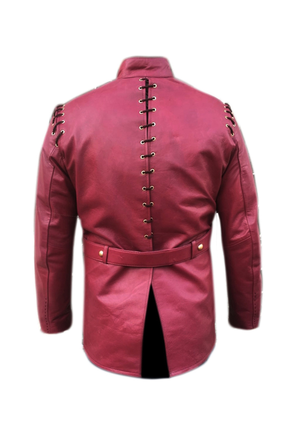 Hand Made Hand Stitched Maroon Real Leather Jacket For Mens