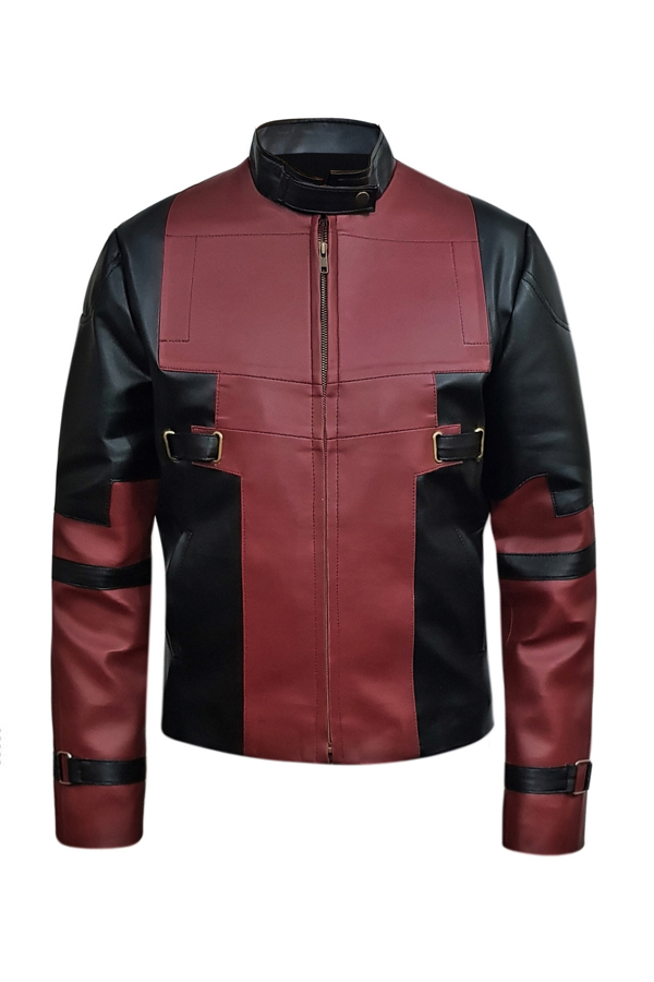 Maroon And Black Faux Leather Jacket For Mens (1)