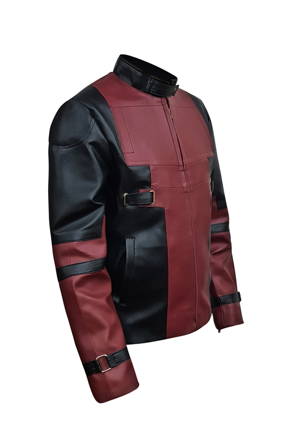 Maroon And Black Faux Leather Jacket For Mens