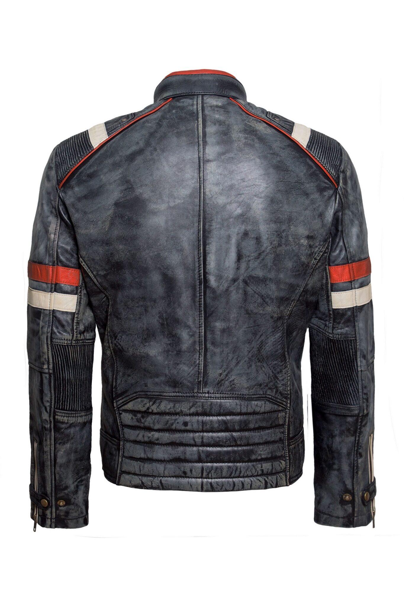 Mens Biker Retro-2 Vintage Cafe Racer Antique Motorcycle Distressed Leather Jacket