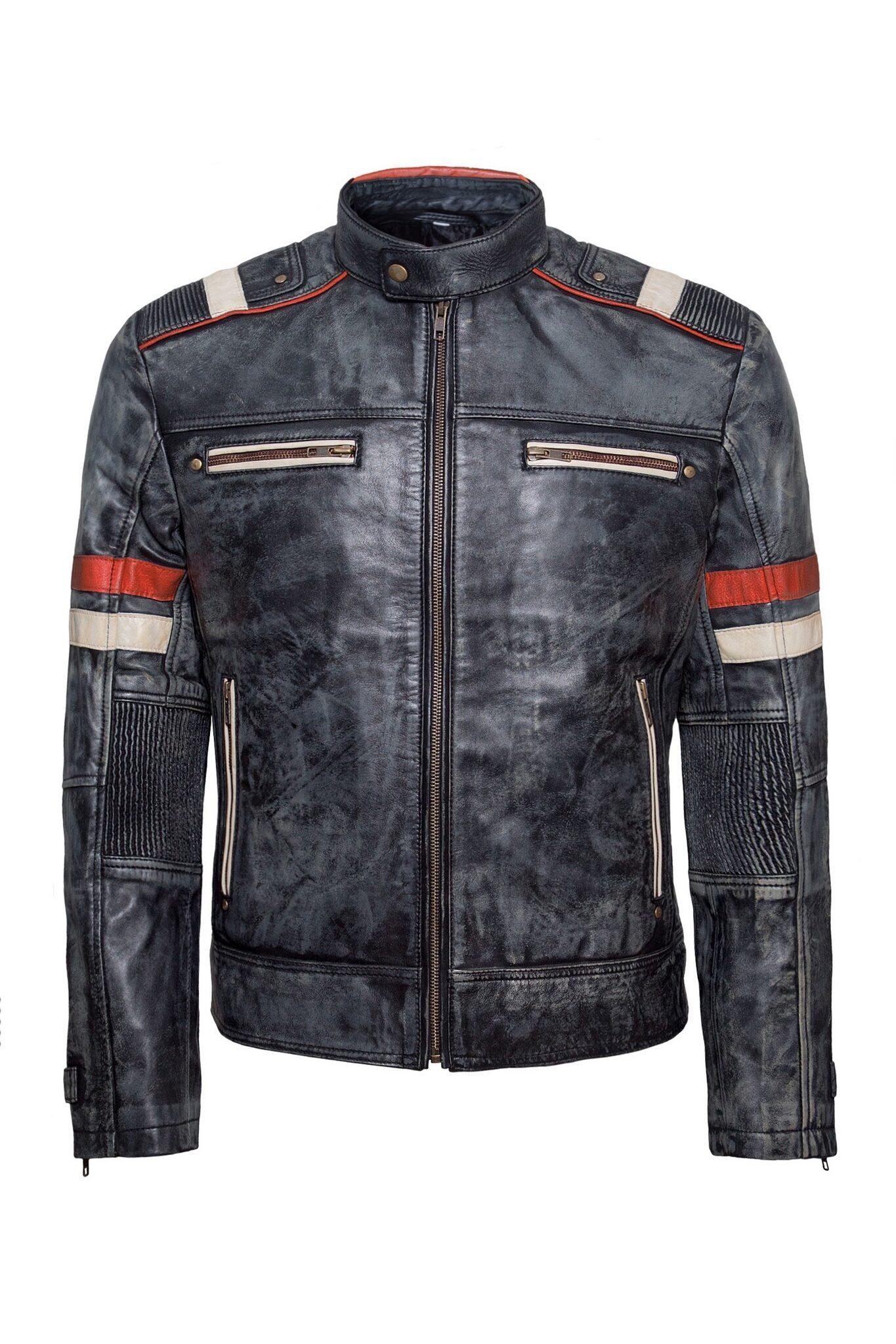 Mens Biker Retro-1 Vintage Cafe Racer Antique Motorcycle Distressed Leather Jacket-5