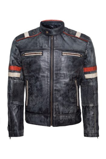 Mens Biker Retro Vintage Cafe Racer Antique Motorcycle Distressed Leather Jacket