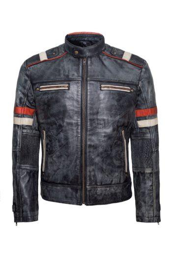 Mens Biker Retro Vintage Cafe Racer Antique Motorcycle Distressed Leather Jacket