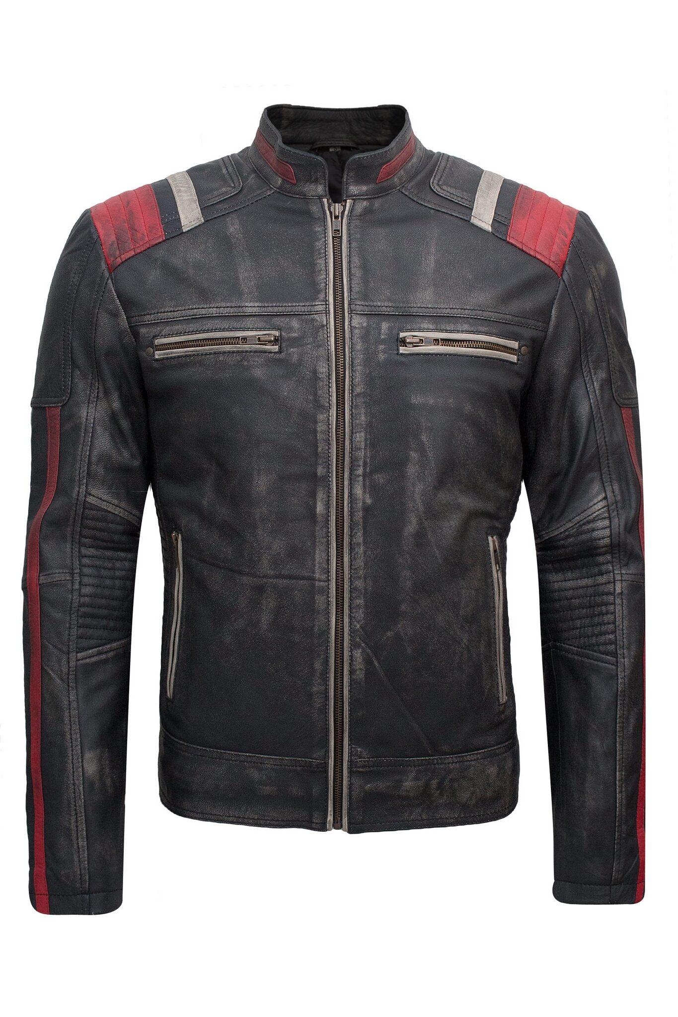 Mens Biker Retro-2 Vintage Cafe Racer Antique Motorcycle Distressed Leather Jacket-6