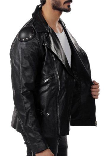 Mens Black Biker Motorcycle Leather Jacket