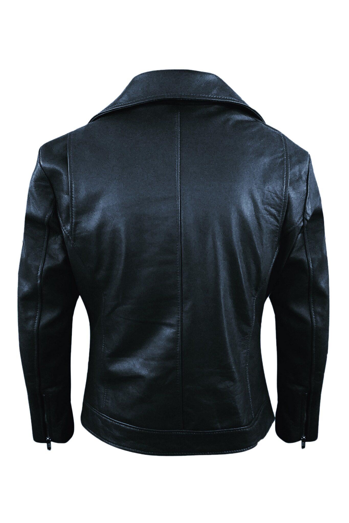 Mens Black Biker Real Leather Jacket