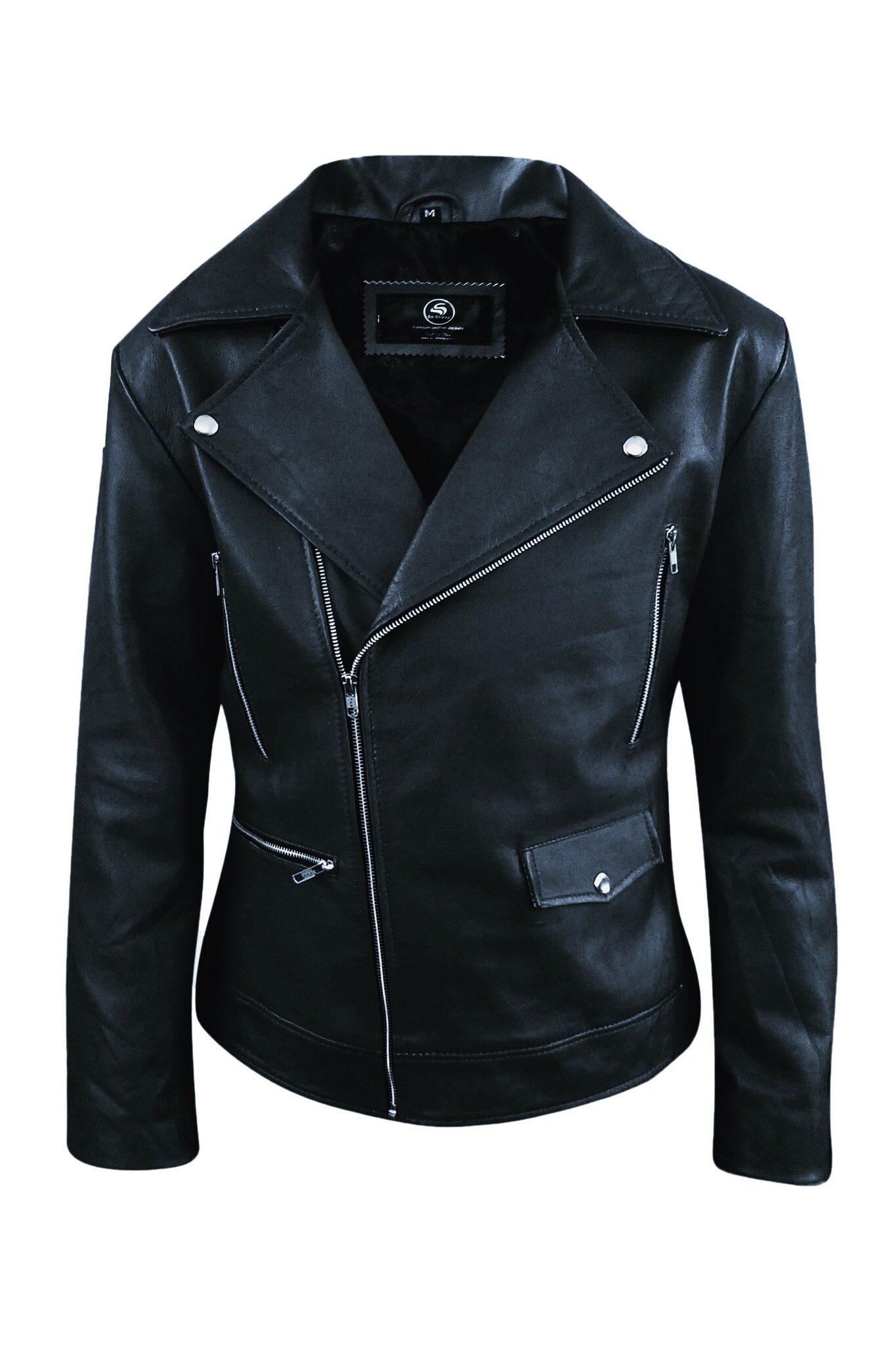 Mens Black Biker Real Leather Jacket5