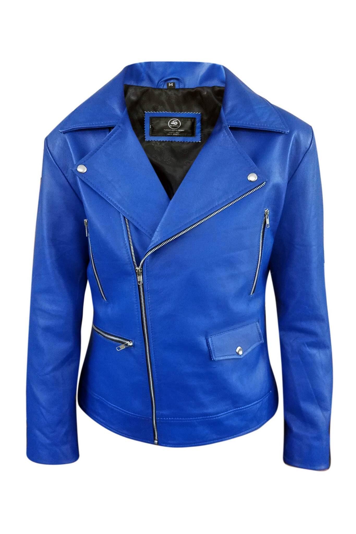 Mens Blue Biker Real Leather Jacket4