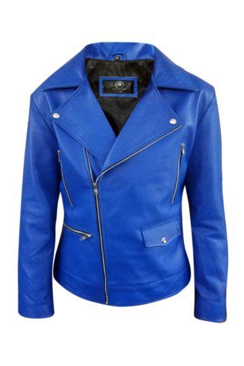 Mens Blue Biker Real Leather Jacket