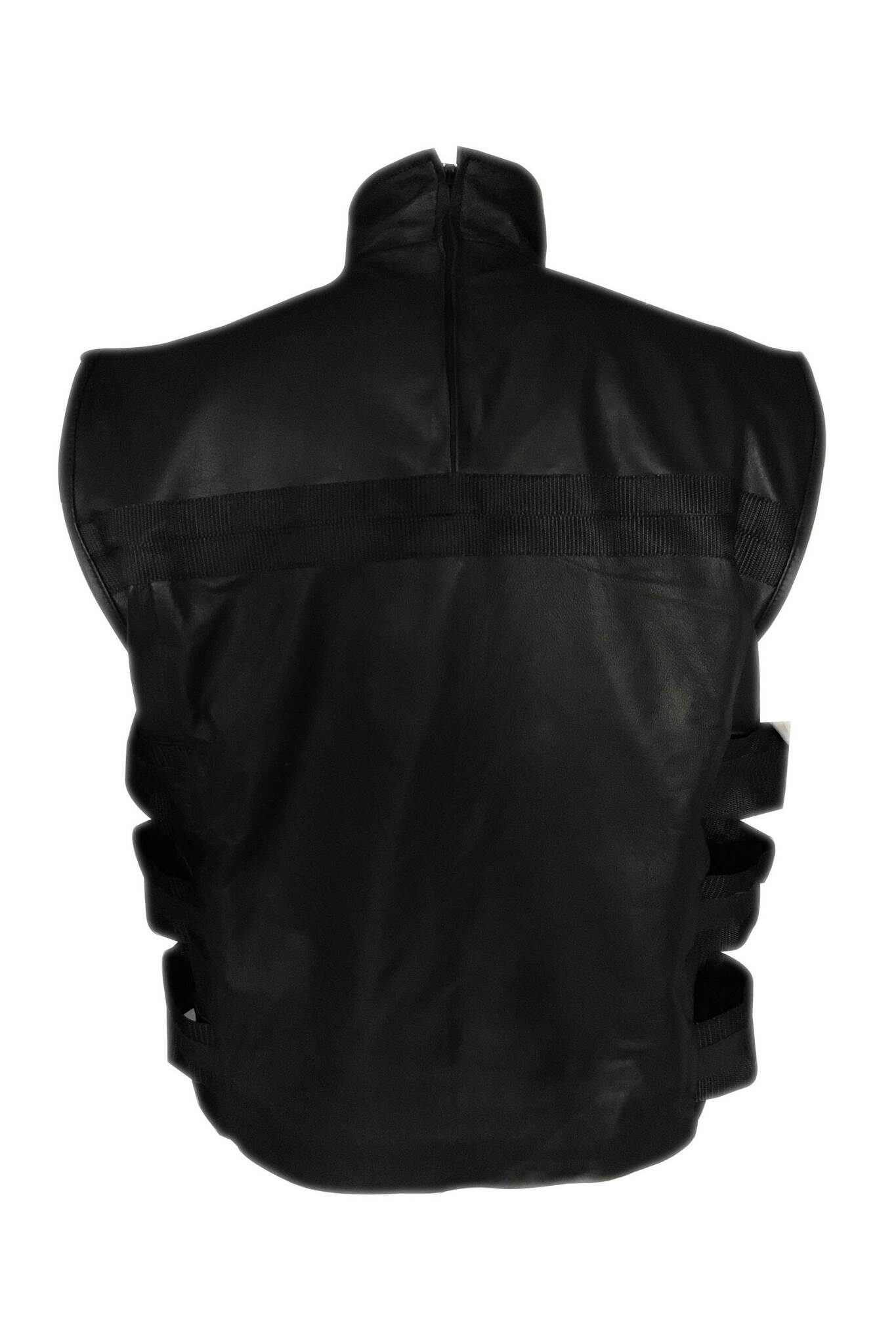 Mens Ghost Skull Leather Vest