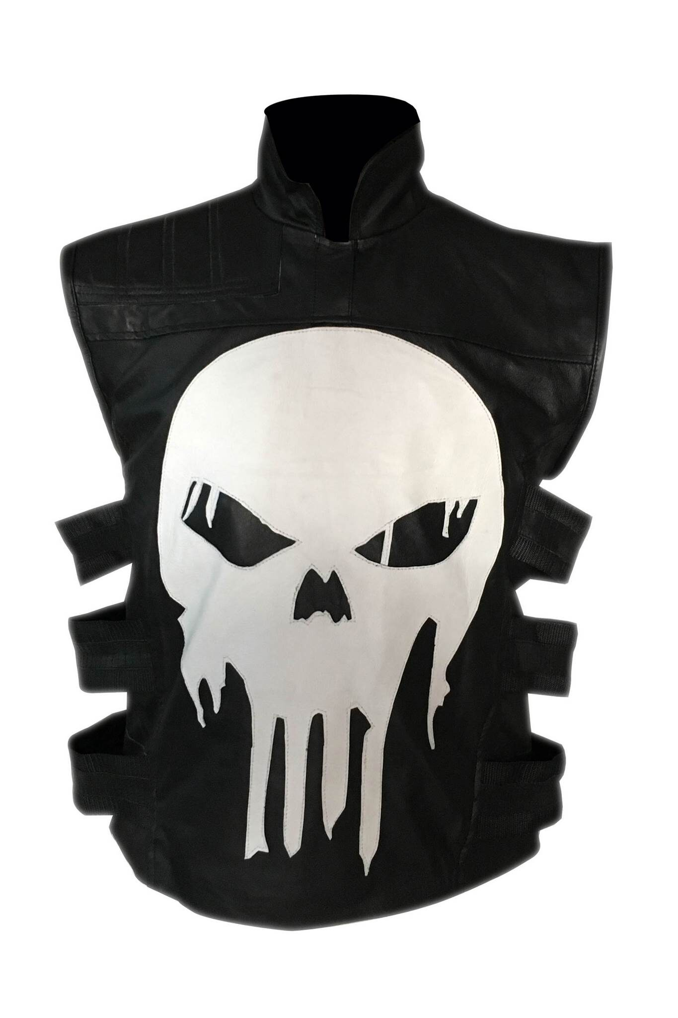Mens Ghost Skull Leather Vest5