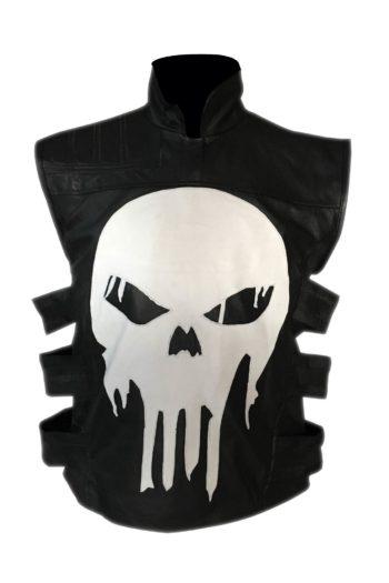 Mens Ghost Skull Leather Vest