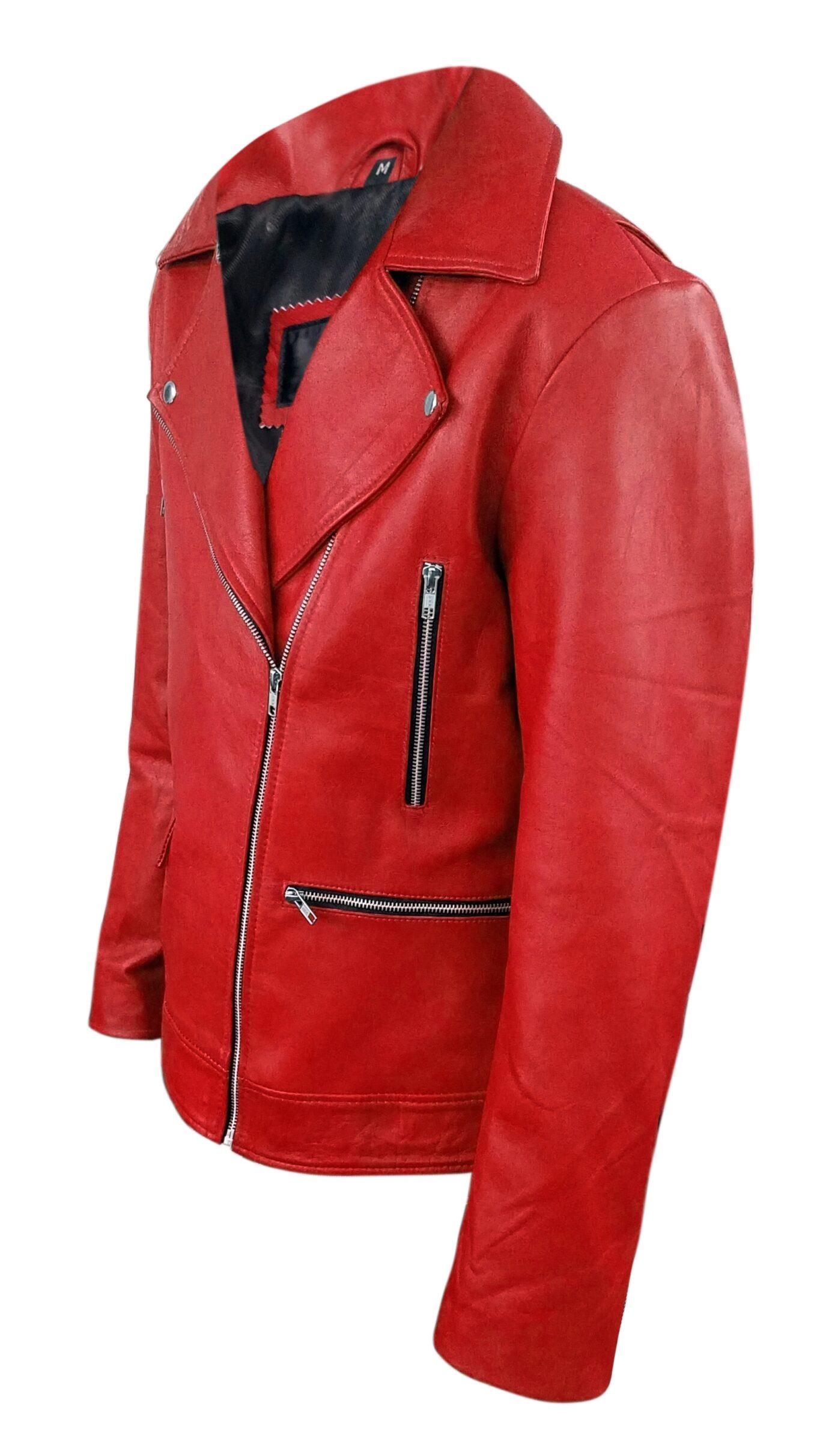 Mens Red Biker Real Leather Jacket