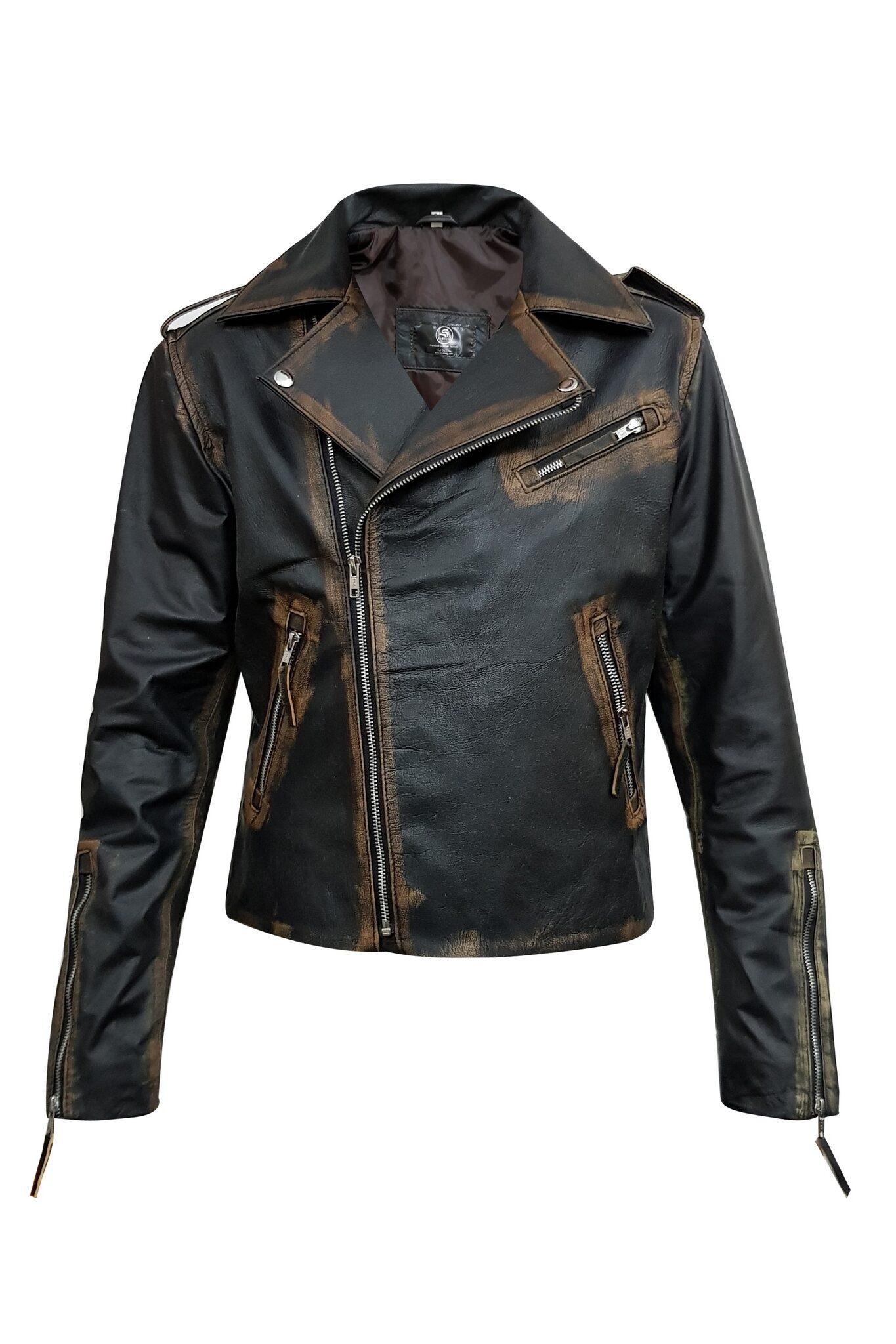 Rub Off Mens Vintage Leather Jacket-9