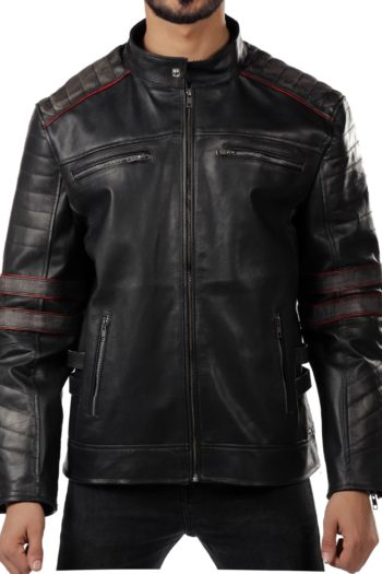 Skull Retro Cafe Racer Distressed Leather Jacket For Mens