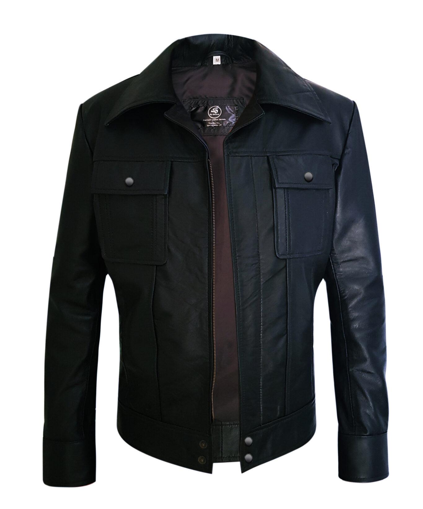 Two Pockets Mens Black Genuine Leather Jacket