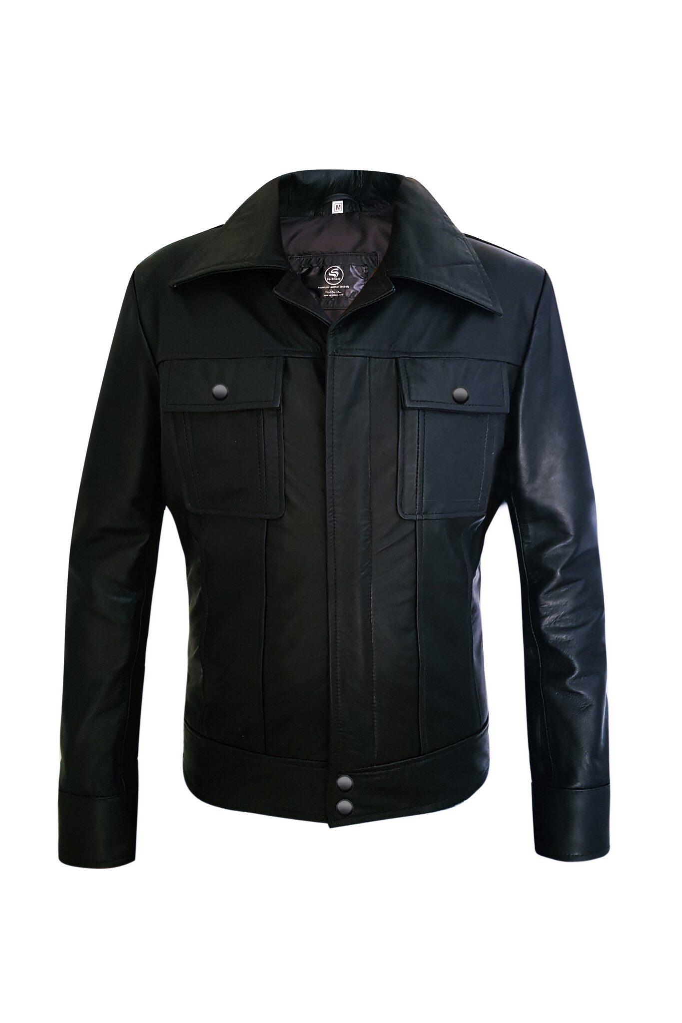Two Pockets Mens Black Genuine Leather Jacket8