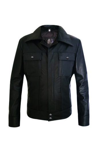 Two Pockets Mens Black Genuine Leather Jacket
