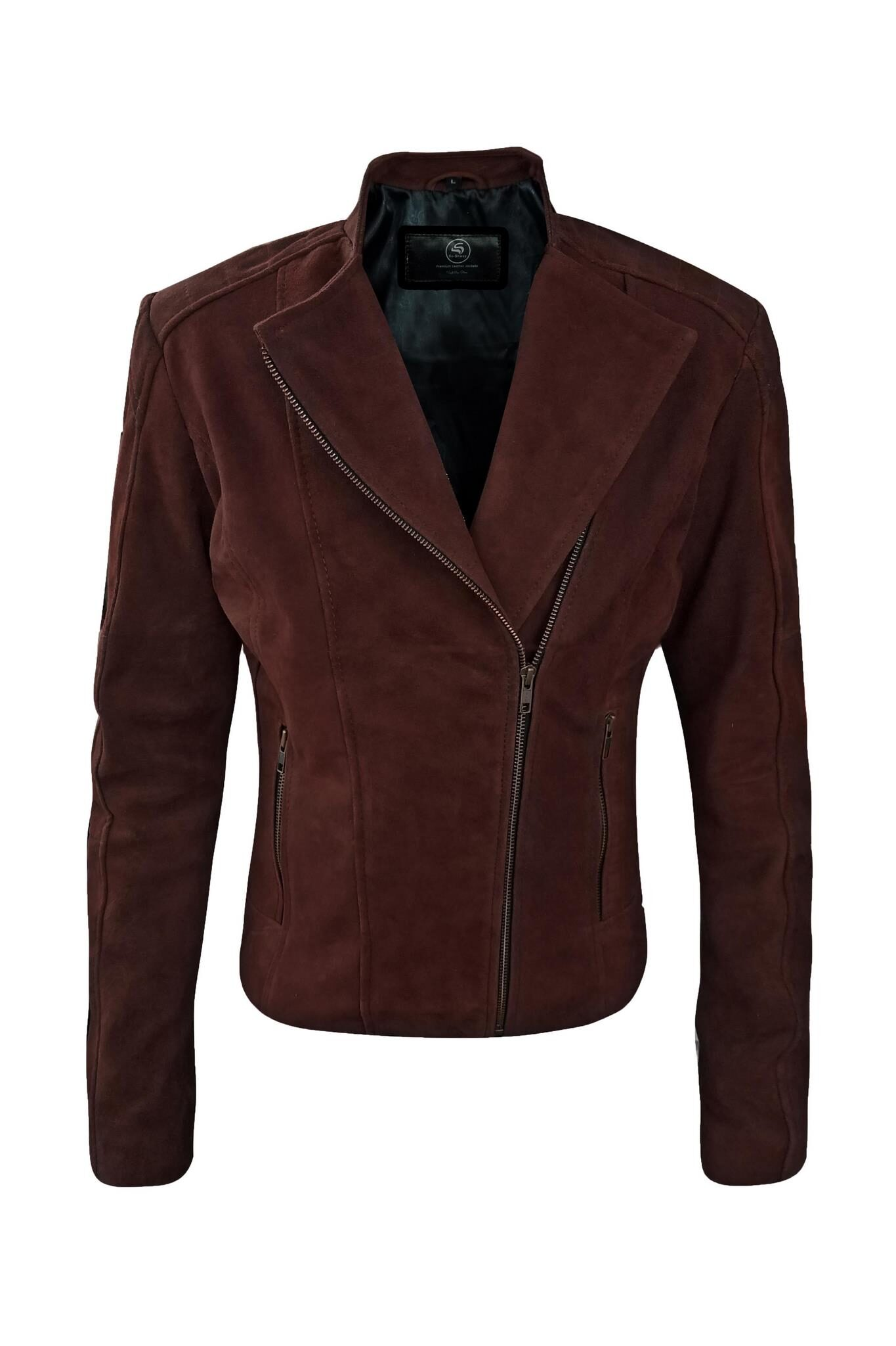 Womens Dark Brown Suede Leather Jacket-5