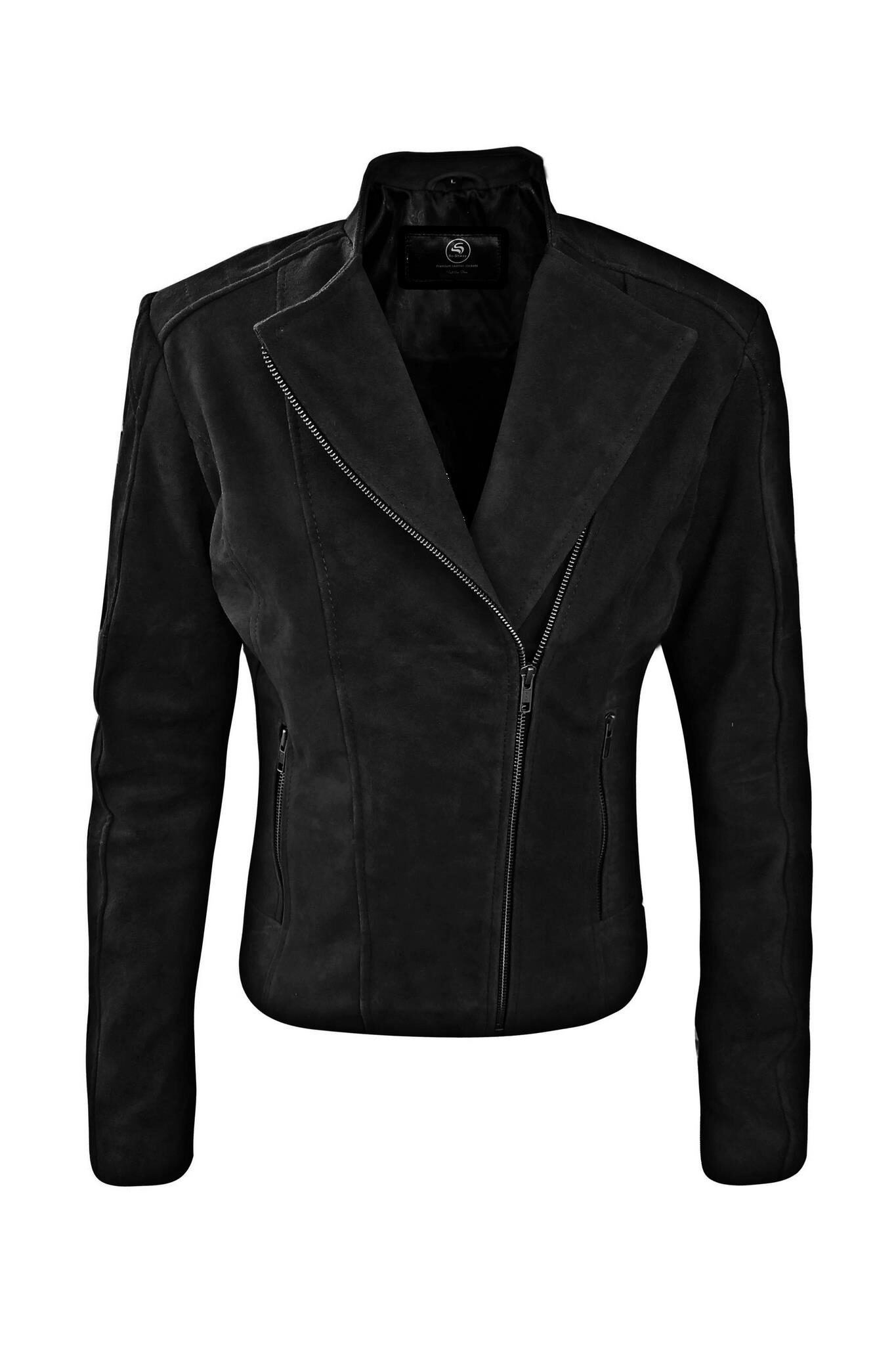 Womens black suede leather jacket-5