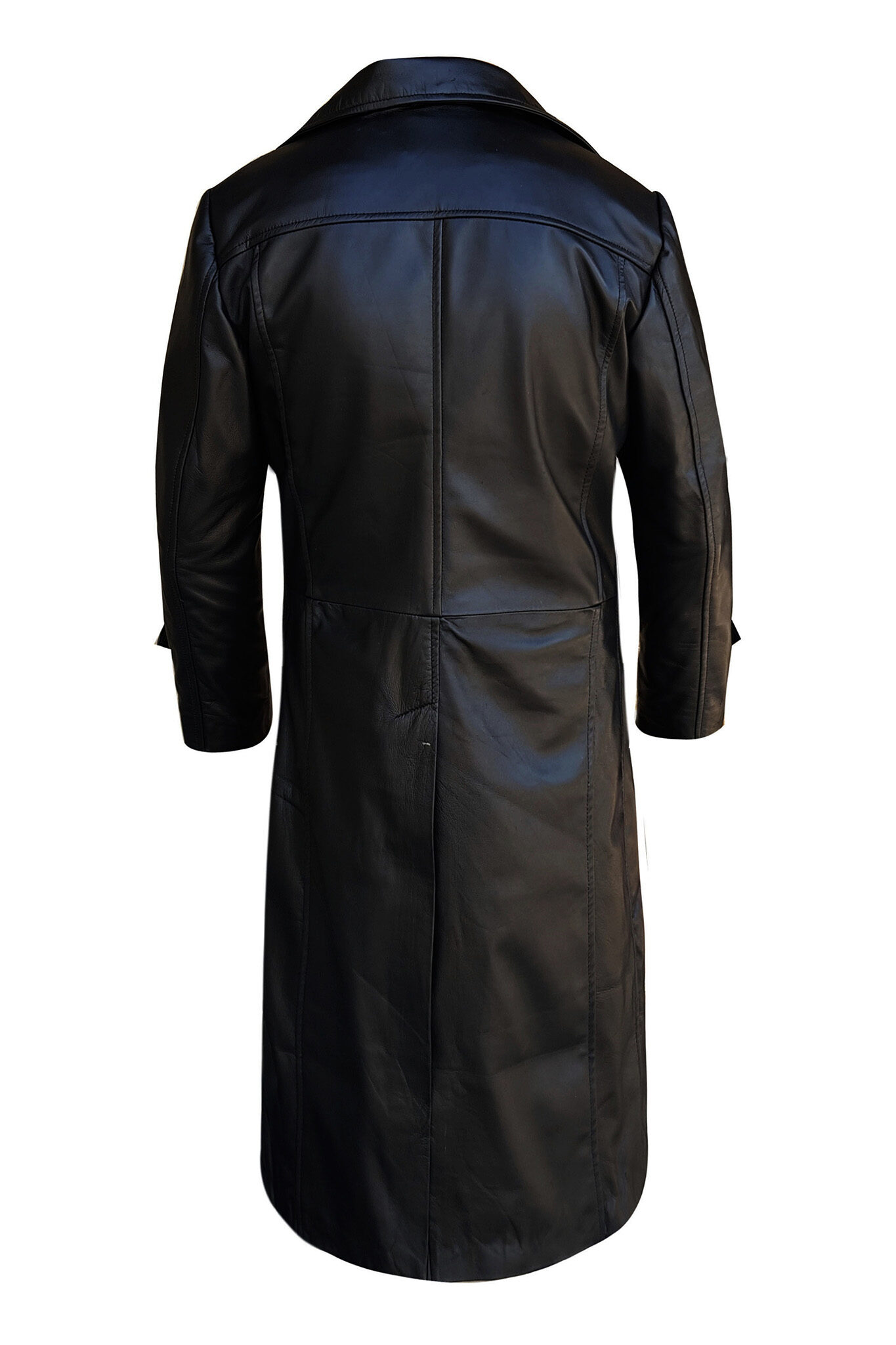 Mens Leather Trench Coat for Men Long Jacket Vintage Distressed Black Coat