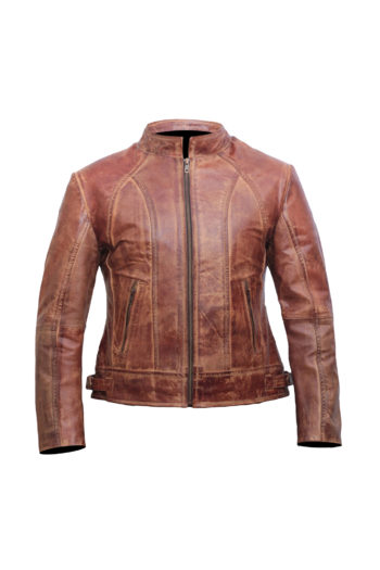 Brown Distressed Leather Jacket Women – Moto Jacket Women – Leather Jackets for Women