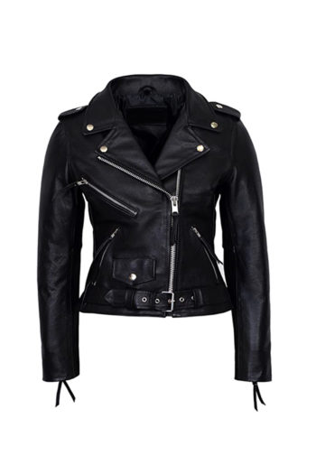 Women's Black Biker Sheepskin Leather Jacket