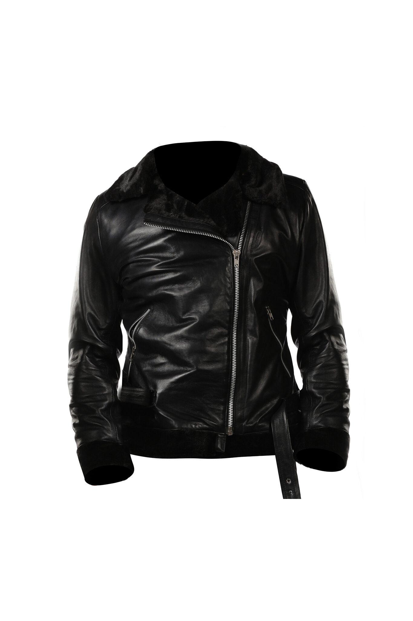 Womens Black Shearling B3 bomber Cockpit Style Leather Jacket