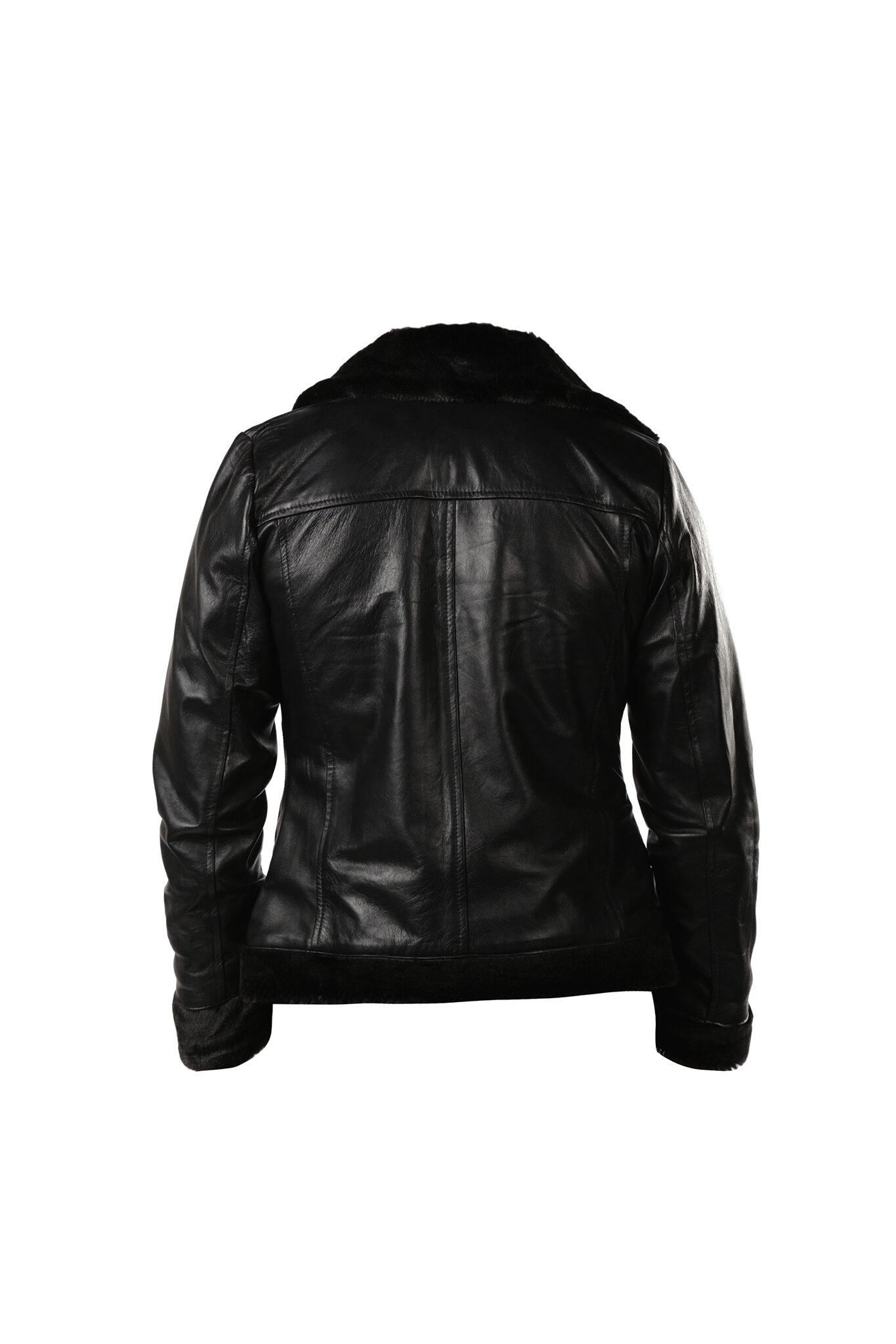 Womens Black Shearling B3 bomber Cockpit Style Leather Jacket-2