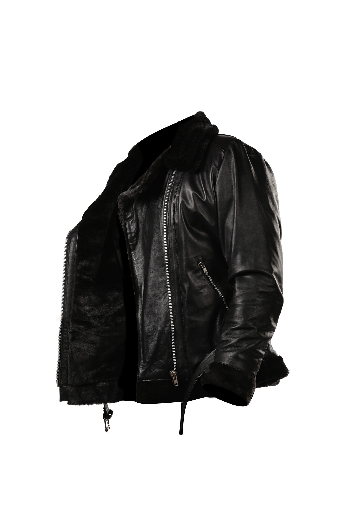 Womens Black Shearling B3 bomber Cockpit Style Leather Jacket-3