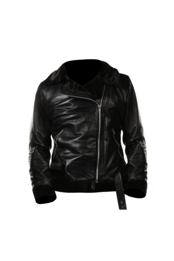 Womens Black Shearling B3 bomber Cockpit Style Leather Jacket