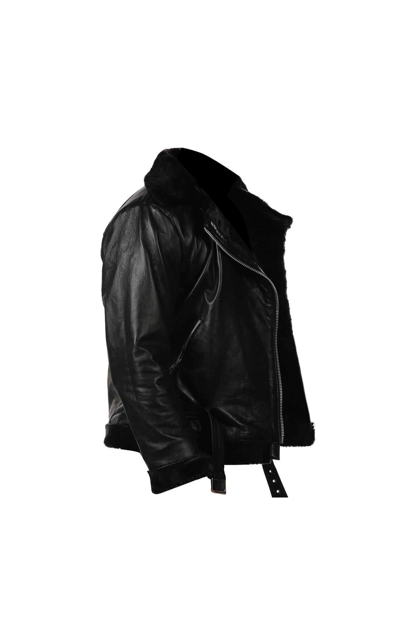 Womens Black Shearling B3 bomber Cockpit Style Leather Jacket-4