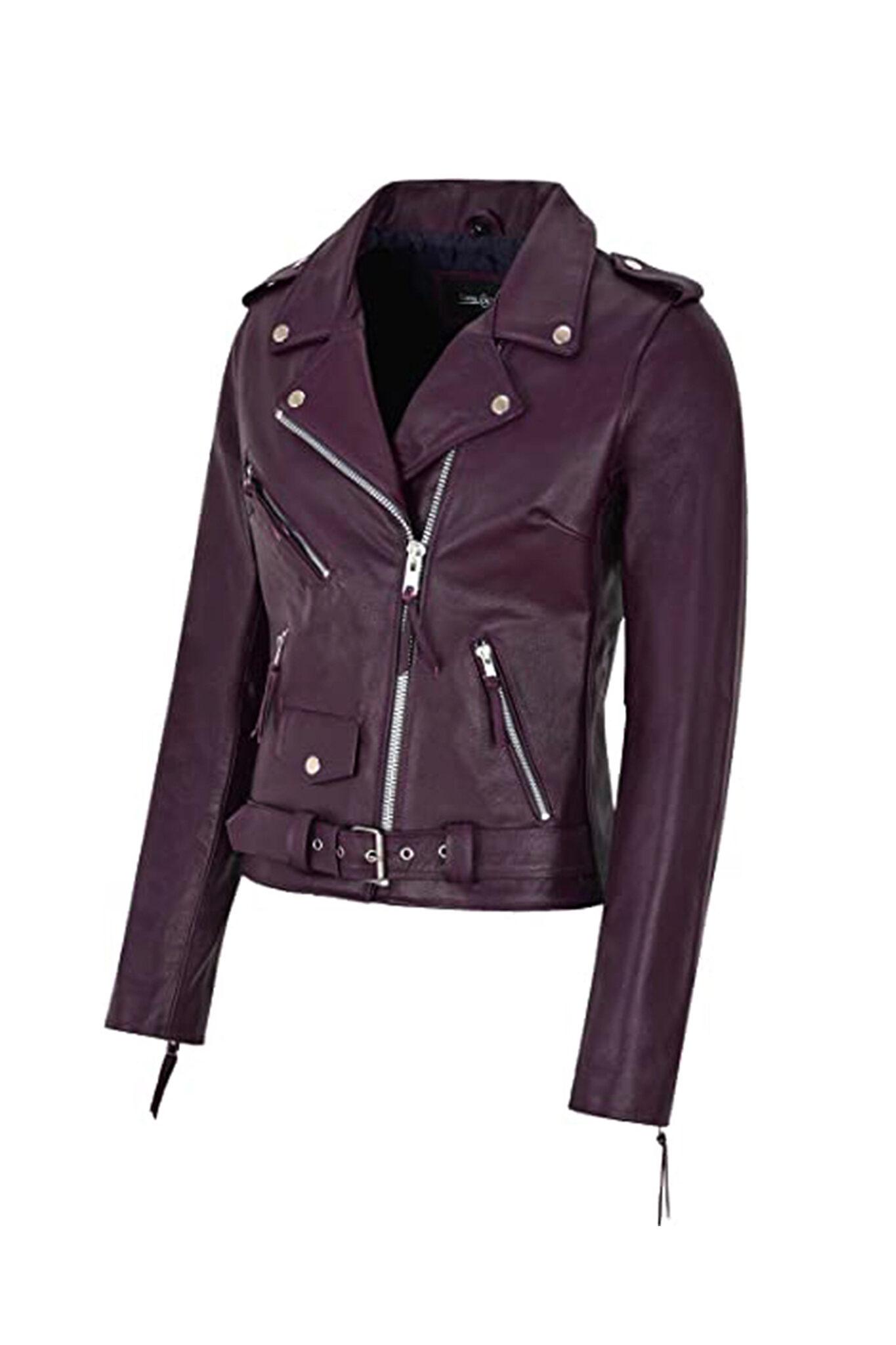 Women's Burgundy Biker Motorcycle Sheepskin Leather Jacket-2