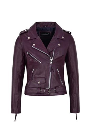 Women's Burgundy Biker Motorcycle Sheepskin Leather Jacket