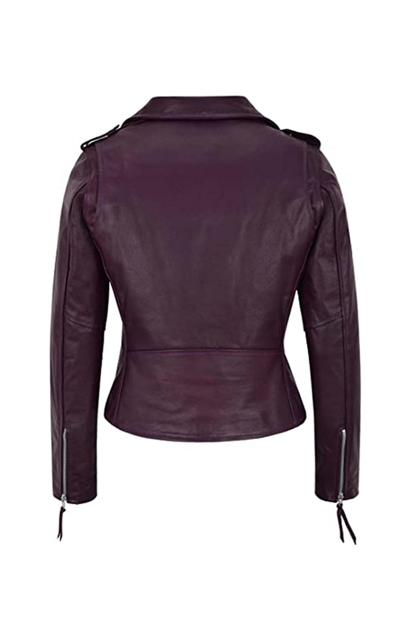 Women's Burgundy Biker Motorcycle Sheepskin Leather Jacket=3