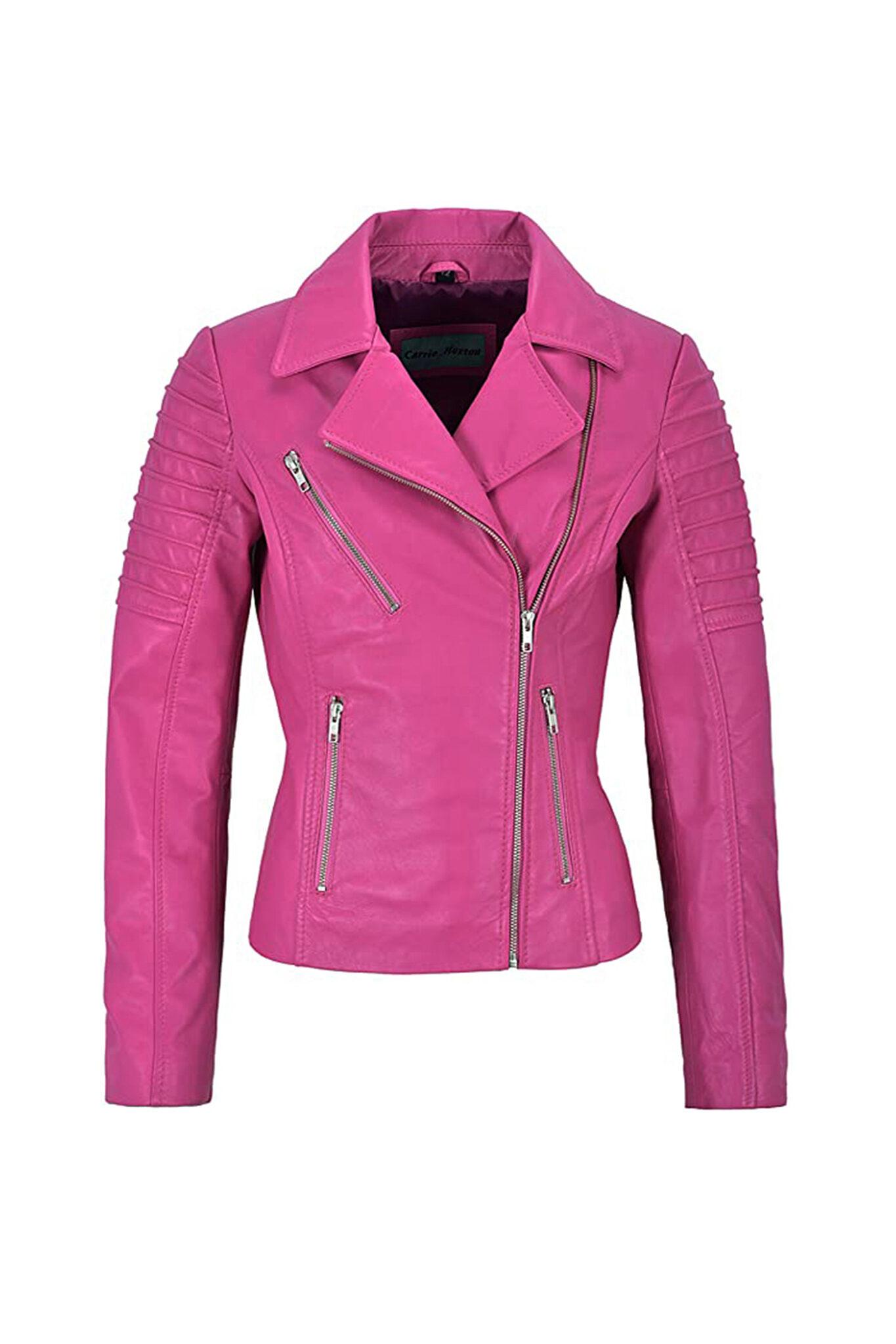 Women's Pink Biker Motorcycle Sheepskin Leather Jacket