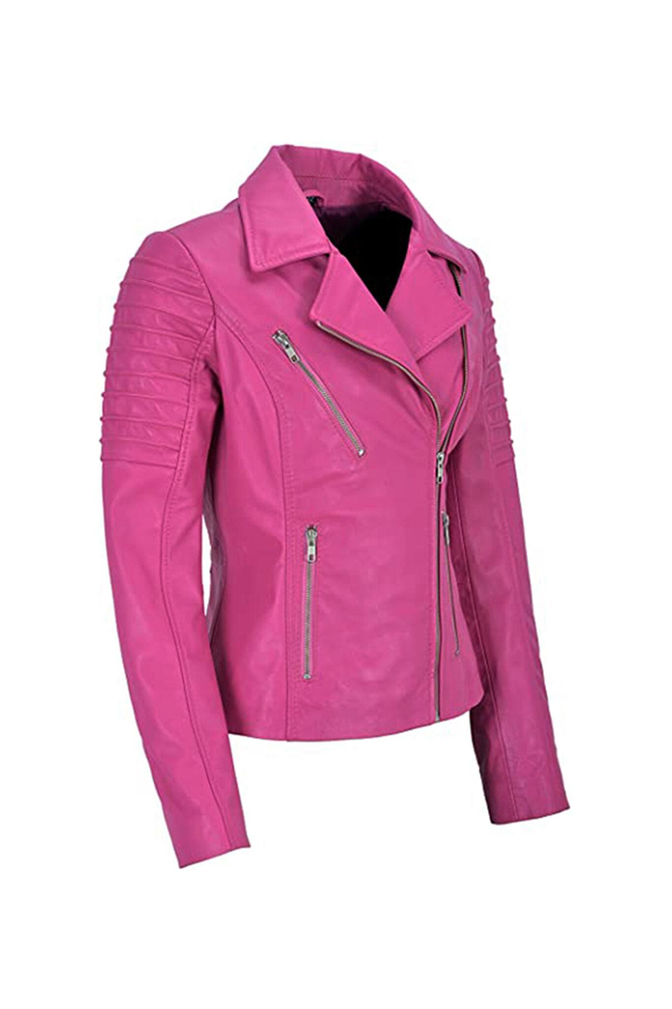 Women's Pink Biker Motorcycle Sheepskin Leather Jacket-2