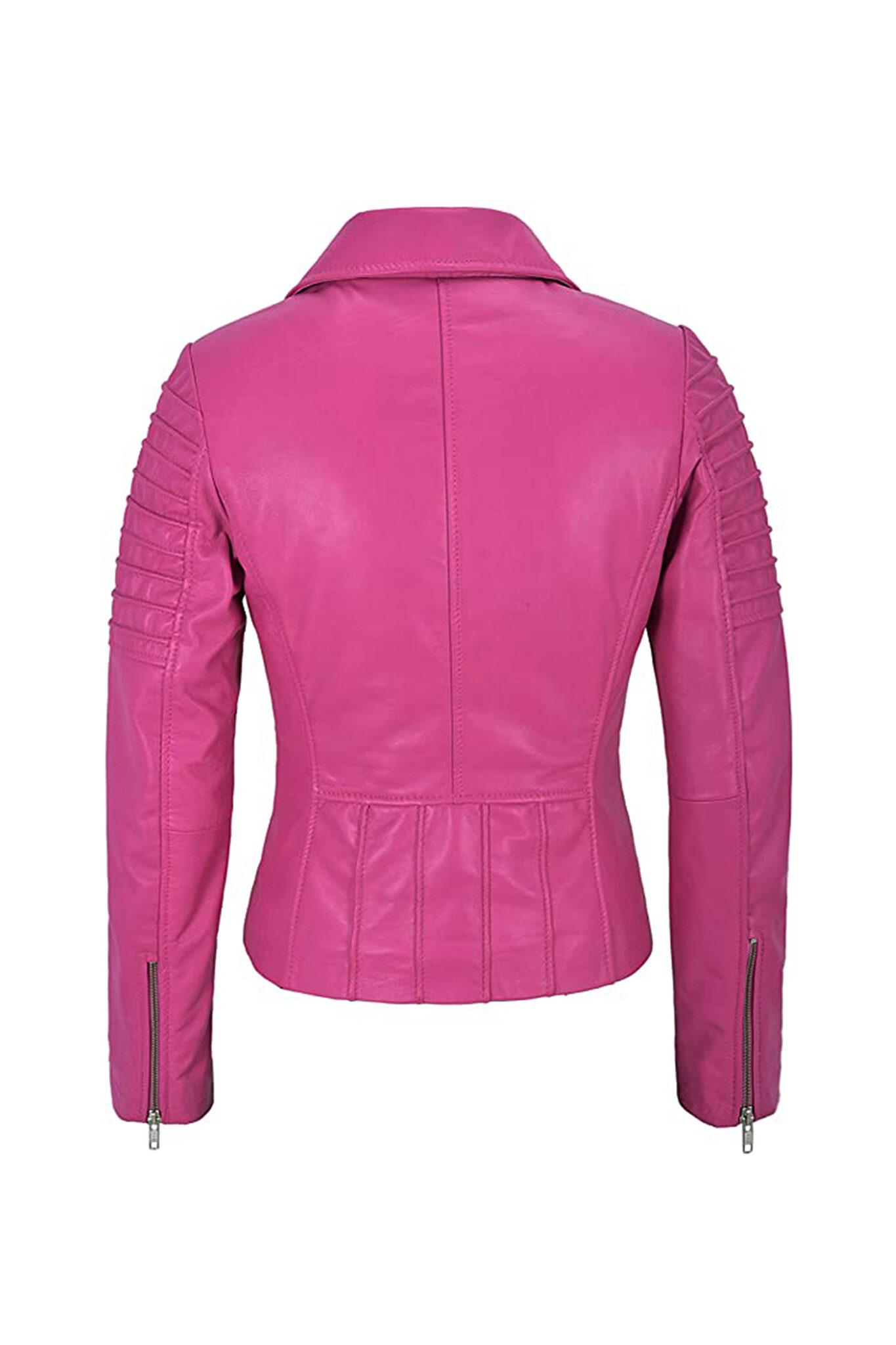 Women's Pink Biker Motorcycle Sheepskin Leather Jacket-3