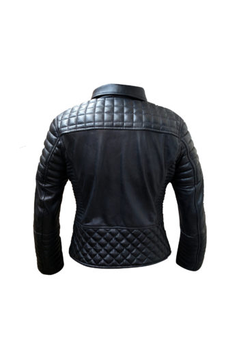 Womens Quilted Black Biker Motorcycle Lambskin Leather Jacket-2