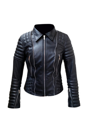 Womens Quilted Black Biker Motorcycle Lambskin Leather Jacket