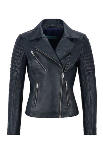 Women's Black Biker Motorcycle Sheepskin Leather Jacket