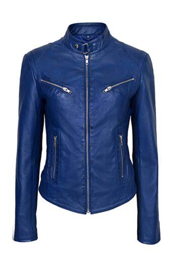 Womens-Blue-Basic-Four-Pocket-Leather-Jacket