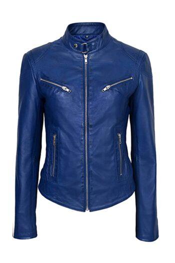 Womens-Blue-Basic-Four-Pocket-Leather-Jacket