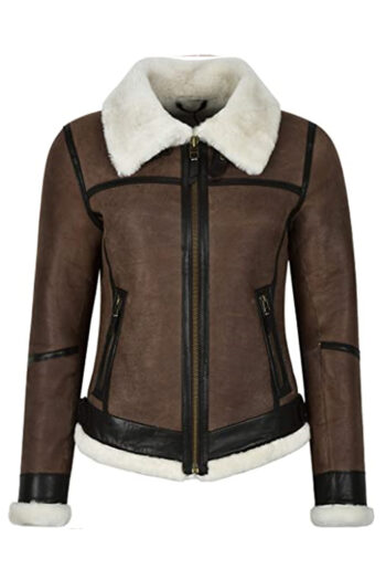 Womens Brown Aviator B3 Bomber Sheepskin Leather Jacket