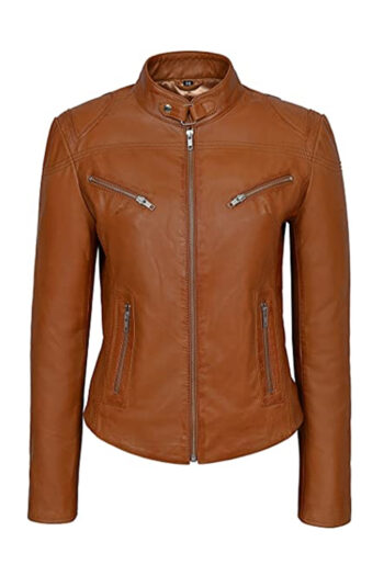 Womens Brown Basic Sheepskin Leather Jacket