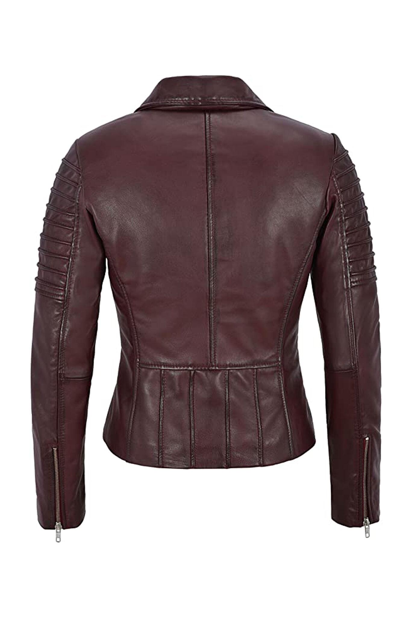 Women's Burgundy Biker Motorcycle Sheepskin Leather Jacket