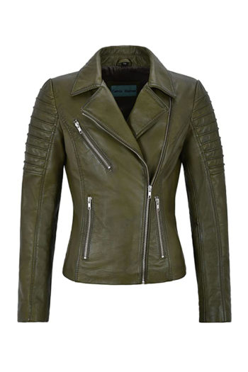 Women's Green Biker Motorcycle Sheepskin Leather Jacket
