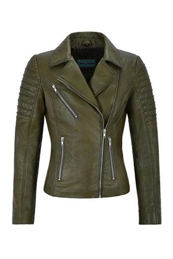 Women's Green Biker Motorcycle Sheepskin Leather Jacket