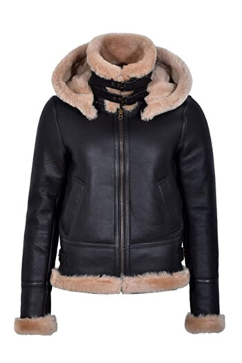 Womens Hoodie Aviator B3 Bomber Brown Shearling Leather Jacket